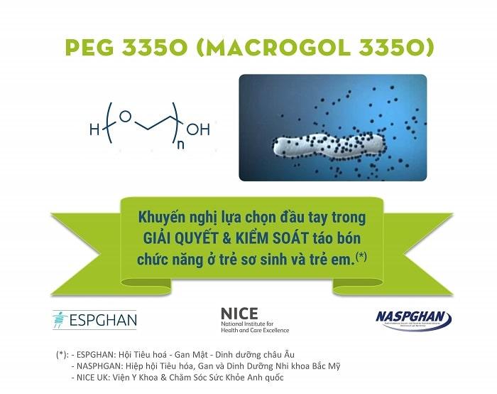 PEG 3350 (macrogol 3350) - lựa chọn đầu tay khi trẻ táo bón