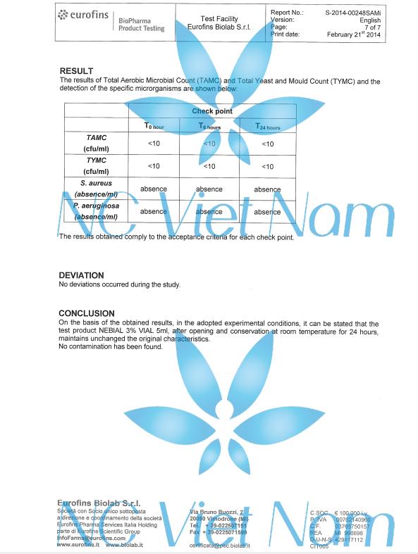 Kết quả test chỉ tiêu vi sinh trong dung dịch Nebial 3%