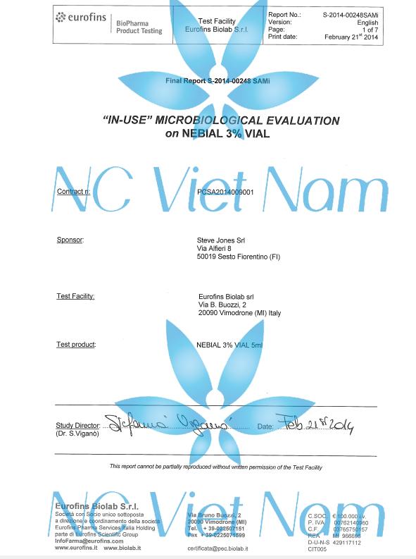 Test chỉ tiêu vi sinh trong dung dịch Nebial 3%