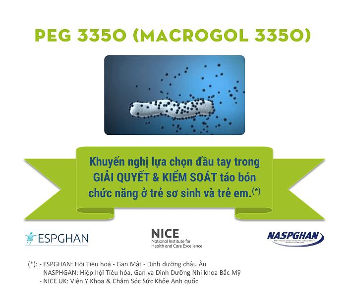 PEG 3350 - khuyến nghị lựa chọn đầu tay trong giải quyết và kiểm soát táo bón chức năng ở trẻ nhỏ
